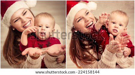 Happy young mom in Santa hat with her little child enjoying snowflakes cold winter days. Collage of photos of cheerful family celebrating Christmas holidays at home.  - stock photo