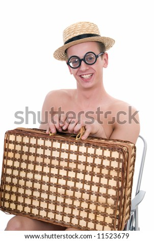 Happy young nerd with picnic basket wearing glasses,  white background,  studio shot.