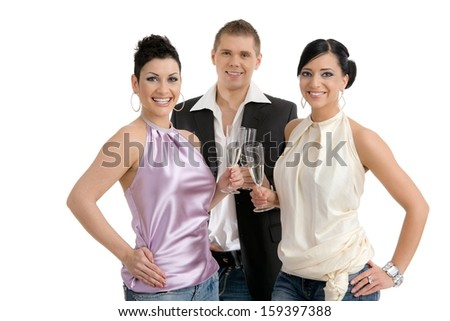 Happy young people clinking with champagne on a party. Isolated on white background. - stock photo