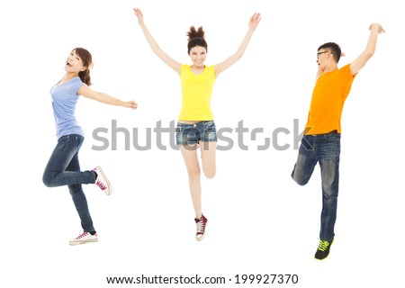 happy young people dancing and jumping - stock photo