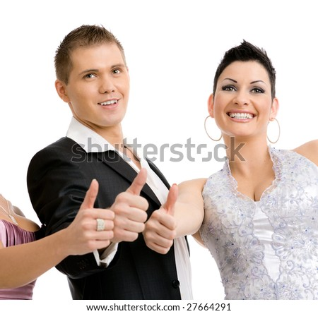 Happy young people gesturing OK. Isolated on white background. - stock photo