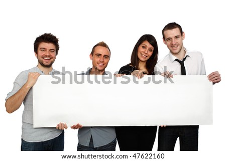 happy young people holding a blank banner - stock photo