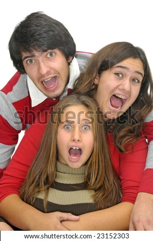 Happy young people isolated against a white background