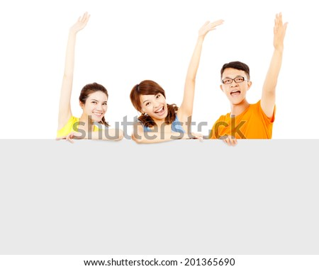 happy young people raise hand to greet with empty board - stock photo