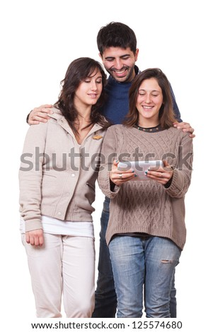 Happy Young People with Tablet PC - stock photo