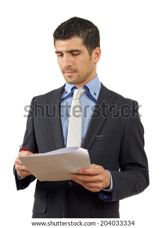 Happy young person ready to sign a job contract isolated on white - stock photo
