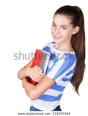 Happy young positive student with book isolated on white background - stock photo