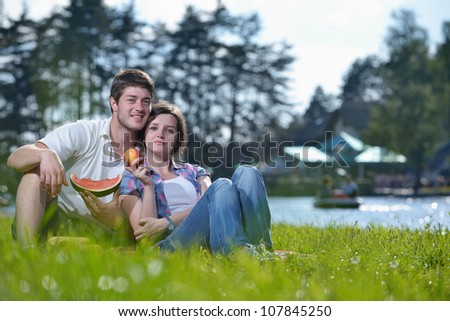 happy young romantic couple in love   having a picnic outdoor on a summer day