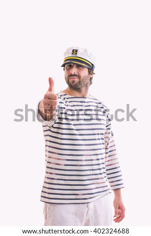 Happy Young sailor with thumbs up