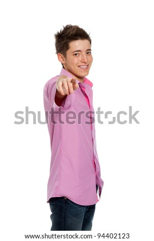 Happy young smile boy pointing finger towards at you to the camera isolated on white background - stock photo