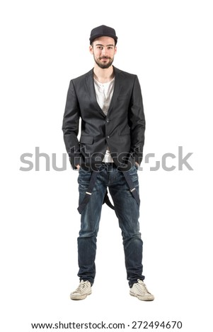 Happy young smiling fashion model looking at camera.  Full body length portrait isolated over white background.  - stock photo