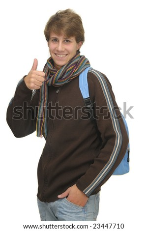 Happy young student isolated against a white background - stock photo