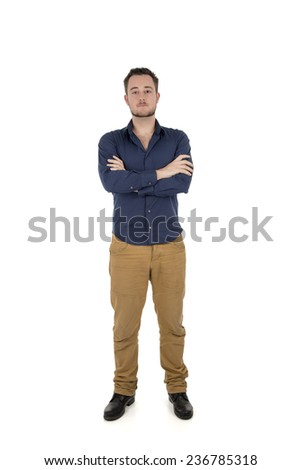 Happy young student man posing against a white background - stock photo