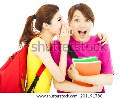 happy young student talking about  a surprising event - stock photo