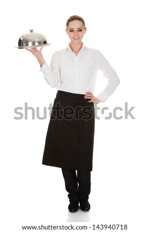 Happy Young Waitress Holding Tray And Lid Over White Background