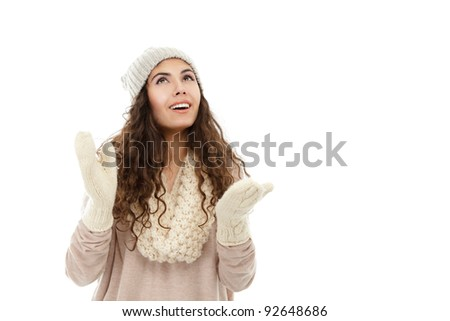 Happy young winter woman in hat