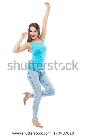 Happy young woman  - stock photo