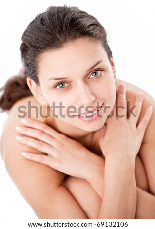 Happy young woman (after spa). - stock photo