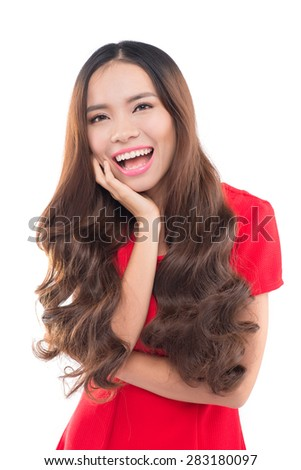 happy young woman against white background