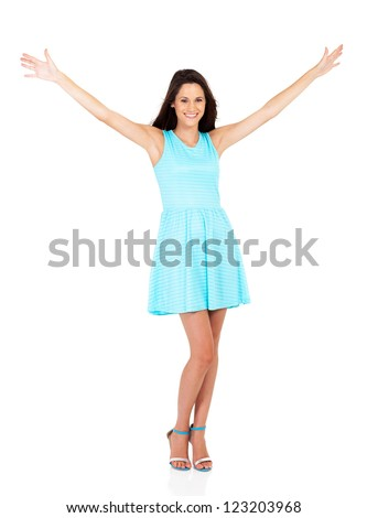 happy young woman arms open isolated on white
