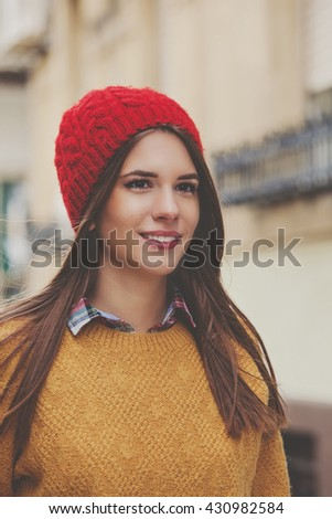 Happy young woman city portrait