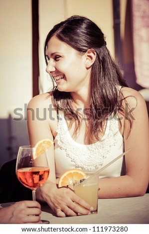 Happy Young Woman Drinking - stock photo