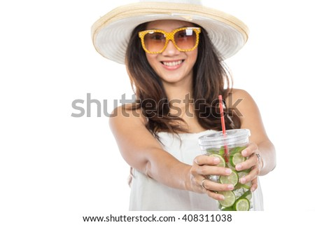 Happy young woman enjoying fresh lime infuse water isolated over white background