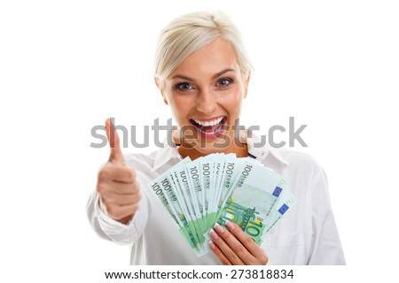 happy young woman holding euro bills over white