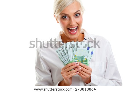 happy young woman holding euro bills over white - stock photo