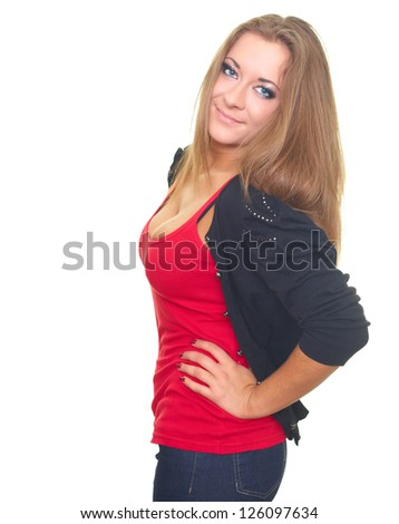 Happy young woman in a black sweater and a red shirt. Isolated on white background