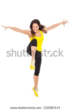 Happy young woman in fitness wear isolated over white background - stock photo