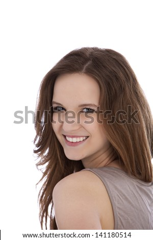 Happy young woman in long brown hair isolated on white - stock photo