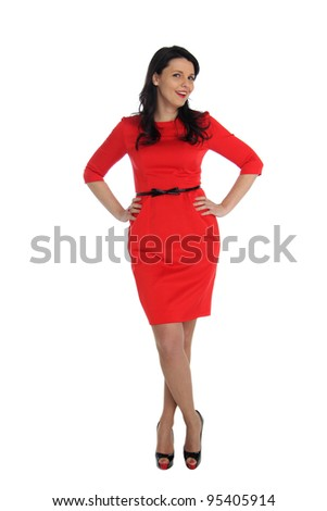 Happy young woman in red dress. Isolated over white background. - stock photo