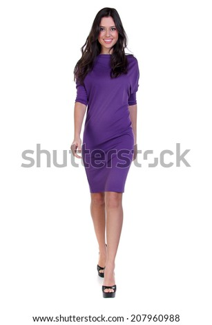 Happy young woman in sexy dress - stock photo
