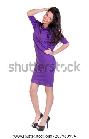 Happy young woman in sexy dress, isolated on white - stock photo