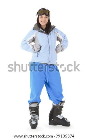 happy young woman in ski sunglasses - stock photo