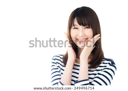 happy young woman in striped clothing , isolated on white background - stock photo