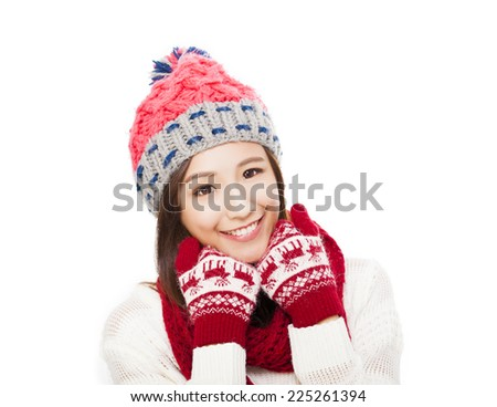 happy young woman in winter clothes. happiness concept.  isolated on white background