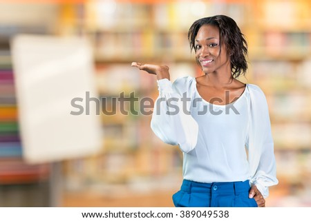 Happy Young Woman Isolated Presenting