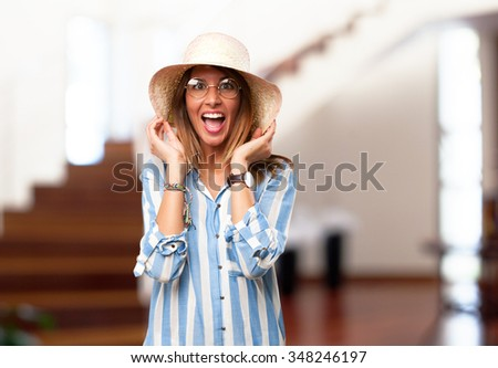 happy young woman joking