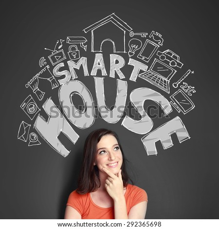 Happy young woman looking up to the illustration of automation technology of smart house concept - stock photo