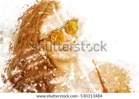 Happy young woman on the beach in hot summer sun light