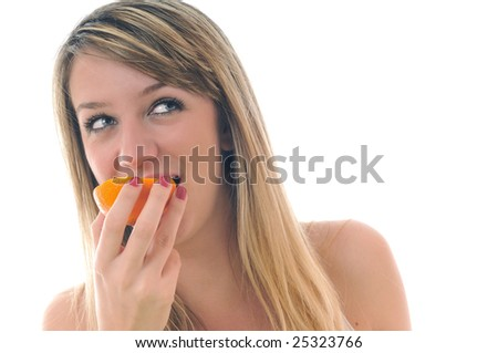 happy young woman orange isolated fruit food healthy