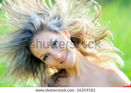 happy young woman outdoor - stock photo