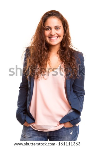 Happy young woman posing isolated over white background