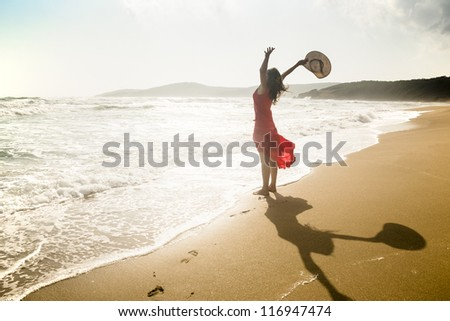 Happy young woman raises her arms towards the sea - stock photo
