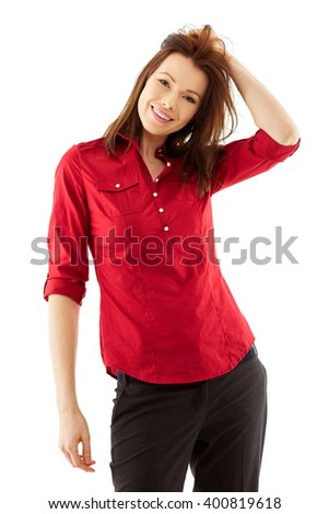 Happy Young woman shoot over white background, isolated - stock photo