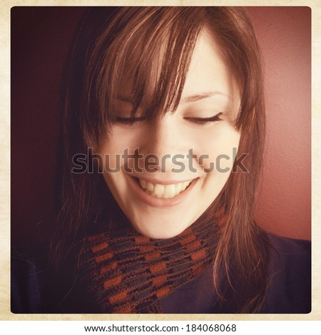 Happy young woman smiling, instagram style