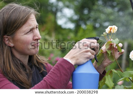 Happy young woman sprays some roses in the garden - stock photo