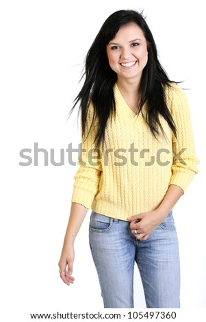 Happy young  woman standing isolated on white background - stock photo